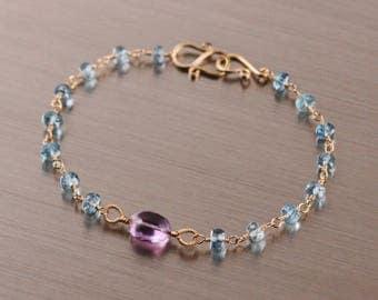 AAA Ametrine Sky Blue Topaz Bracelet, Gold Filled, Wire Wrapped, Amethyst Citrine, Purple Yellow Blue, Rosary, February November Birthstone