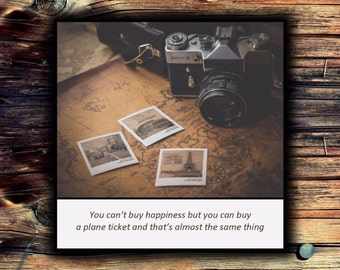 Magnet - You can't buy happiness but you can buy a plane ticket and that's almost the same thing - Vintage Inspired Travel
