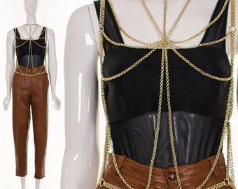 1950's RARE Gold Body Chain NWT Mint Erotic Body Jewelry Metal Chain Vest
