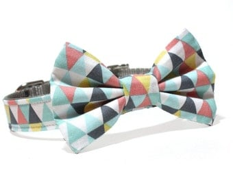 Geometric Bow Tie Dog Collar- Gray, Blue, and Coral Geometric pattern bow tie dog collar