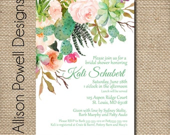 Succulent Bridal Shower, Succulent Invite, Watercolor, Couple Shower- Print your own