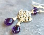 Art Deco Amethyst Earrings Sterling Silver Statement Purple Gemstone Briolette Dangles, February Birthstone