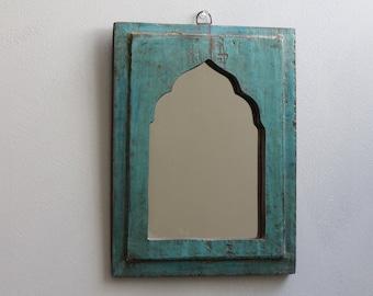 Moroccan Mirror Small Mirror Turquoise Blue Accent Mirror Vintage Reclaimed Wood Mirror Distressed Mirror Moroccan Decor Turkish Interior