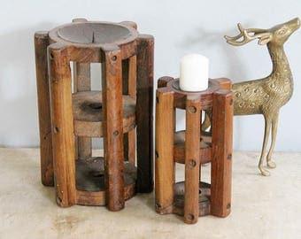Pair of Vintage Teak Wood Spool Boho Candle Holders