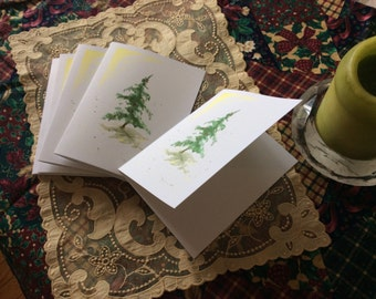 """Fir In Snow III,  Note Card, Print of Watercolor 4.25""""x5.5"""" with Envelope"""
