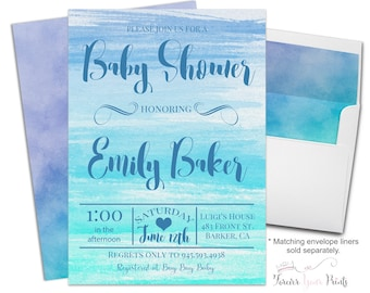 Watercolor Baby Shower Invitation - Baby Shower Invitation Boy - Baby Boy Invitation - Baby Boy Invite - Boys Shower Invite - Blue Ombre