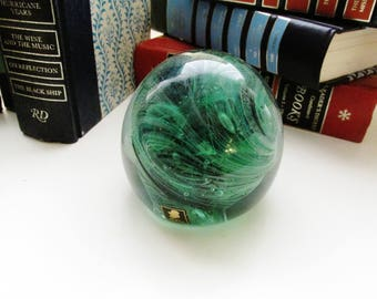 Kerry Art Glass Paperweight, Green Marbleized Paperweight, Glass Malachite Style Paperweight, Made In Ireland