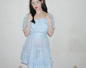 vtg 60s womens handmade baby blue frilly lace baby doll short sleeve dress size M
