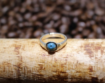 Leland Blue (Slag Glass) Sterling Silver Ring (sz6.75 adjustable)