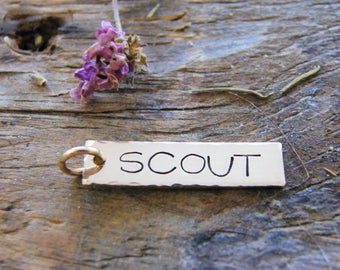 personalized tag one inch long 14 kt gold fill / 14/20 kt hand stamped tag