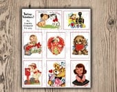 PRINTABLE Vintage Valentines, Cards, PDF, Embellishment, Scrapbooking, Cardmaking, DIY, Digital Download,