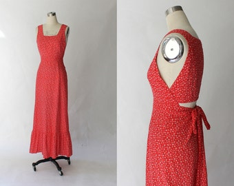 RESERVED // 1970s Apron Maxi Dress // 70s Vintage Long Red and White Cotton Pinafore Dress // Small - Medium