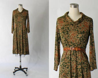 1960s Elizabeth Arden Jersey Dress // 60s Vintage Earth Tone Paisley Print Long Sleeve Knit Dress // Large