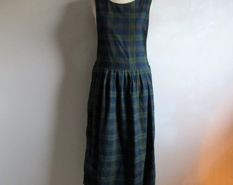 Vintage 80s WOOLRICH Pinafore Green Navy Blue Plaid Country Cotton Flannel Grunge Cotton Jumper 1980s Dress Medium