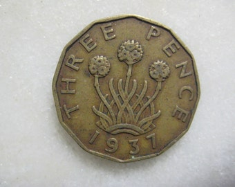 1937 United Kingdom, Three Pence Coin, Portrait of George VI, Three headed 'Thrift' Plant