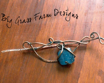 Pin for Scarf or Shawl, Wire Wrapped, Copper with Blue Fused Glass Accent Brooch, Rustic Unique Gift for Mom, Valentines Day Present