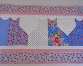 Kitty Quilted Table Runner in Blue and Pink, Floral Quilted Table Topper, Kitty Cat Table Quilt, Cottage Chic, Dresser Scarf, Bedroom Decor