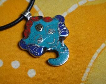 Ganesh Pendant Turquoise Lapis and Red Coral Nepalese Inlaid Stone Necklace Tibetan Jewelry Hindu Elephant God