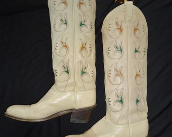 TALL Leather Inlay WESTERN Vintage 1980's Women's ACME Cowboy Boots 6