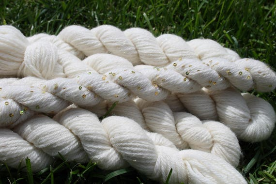 Merino Yarn  White with Angelina and Sequins 5/50- 75 yards per skeins   BARGAIN - Close Out Yarn- Knitting Crochet Weaving Doll Hair