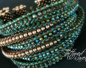 Glorious Green and Golden Multi-Strand Bracelet