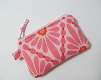 Zipper Pouch/Coin Purse/Pink Flower