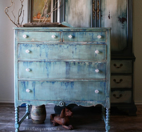 Boho Antique Dresser Hand Painted in Shades of Blue