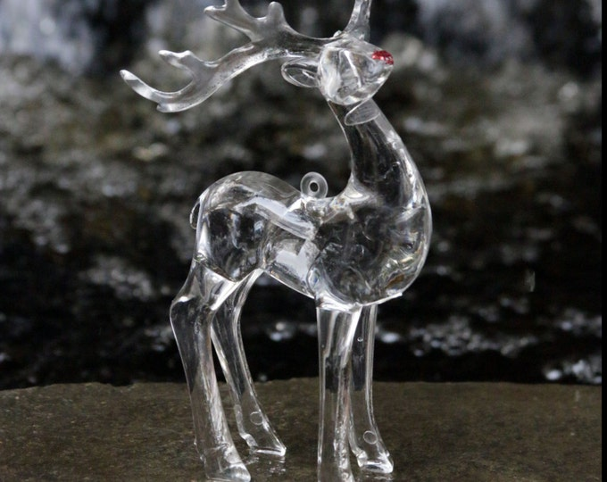 Crystal Clear Reindeer Christmas time Ornaments, Winter woodland animal figurine 3'd, Rudolph Red nosed, Santa's Sleigh, minimalist hanging