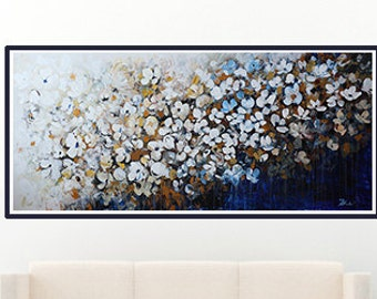 70''original flower  painting, abstract flower painting X Large -Contemporary White Flowers Landscape,navy, dark blue, indigo blue  brown