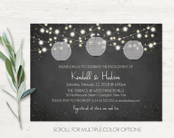 Engagement Party Invitation, Engagement Party Invite, Couples Shower Invitations Chalkboard Paper Lanterns Color Options Printable Template