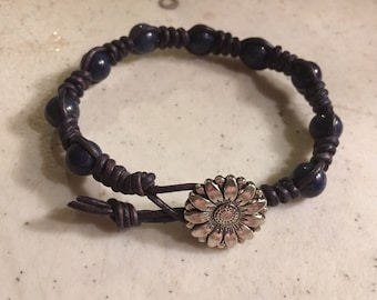Navy Blue Bracelet - Macrame Jewelry - Lapis Gemstones - Leather - Fashion - Trendy - Beaded - Silver Flower Button