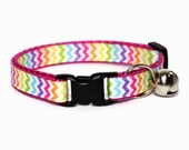 Cat Collar Rainbow Zigzags