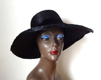 1950s-60s Black Wide Brim Hat - vintage formal straw hat by Pinehurst