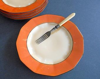 Vintage Dessert Plate Set of 5 Art Deco Orange Lustre Royal Schwarzburg Germany