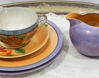 1930s, Japan ,Hand Painted, Lusterware,Cherry Blossoms,Bright Flowers,Teacup Set,5 piece set