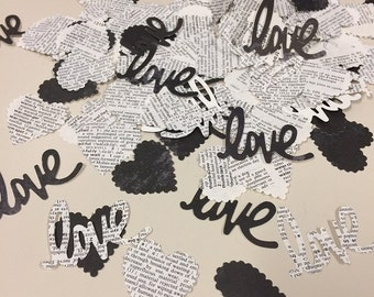Hearts and Love Confetti Mix Handmade Over 150 Punches Black and White - Rippy Bits by TangoBrat