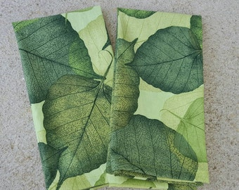 cloth dinner napkins- green leaves