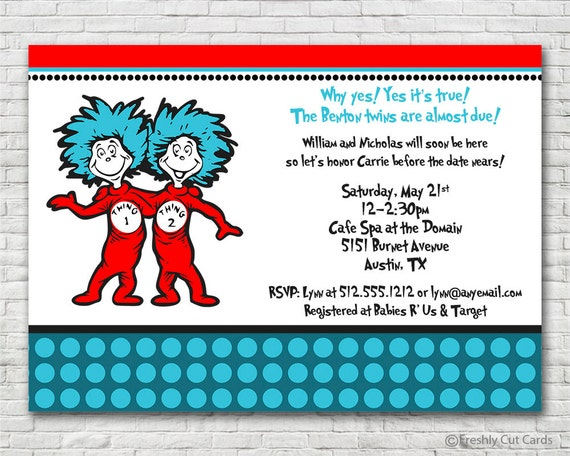 Thing 1 and Thing 2 Baby Shower Invitation - Printable or Printed (w/ FREE Envelopes)