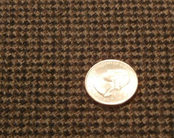 "Beautiful Dark Brown and Tan Wool Suiting Fabric Nailhead Pattern Birla VXL Limited  60"" Wide x 1 Yard, 7 Yards Available"