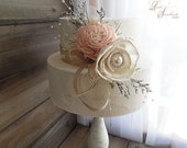 Ready to Ship ~~~ Rustic Sola Flower Cake Topper Pick with Pearls and Rhinestones. Ivory and Blush Pink.