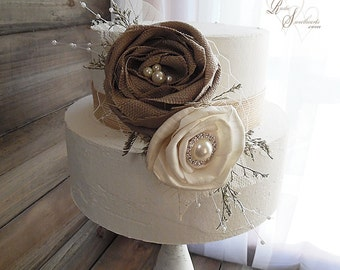 Ready to Ship ~~~ Rustic Sola Flower Cake Topper Pick with Pearls and Rhinestones.