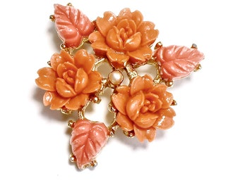 Vintage Victorian Celluloid Coral Rose Flower Brooch Victorian Jewelry VINTAGE CHIC