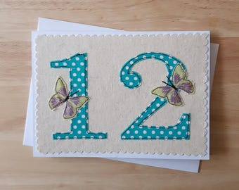 age 12 birthday card, 12th anniversary card, number 12