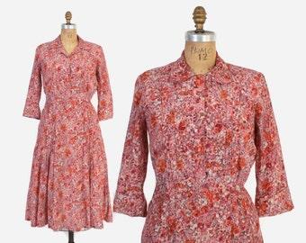Vintage 60s FLORAL DRESS / 1950s Pink & Orange Shirtwaist Shirt Dress M