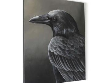 Regal Raven painting - corvid painting in black and white - monochrome black bird - dark wings dark words - nevermore raven canvas painting
