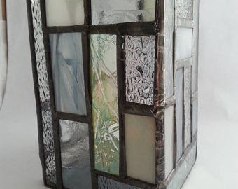Hurricane stained glass candle holder