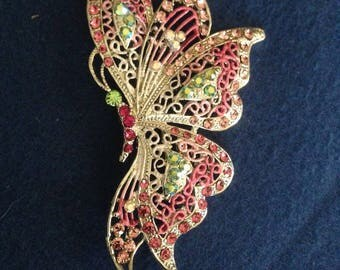 """Butterfly Brooch Side View Iridescent & Pink Crystal Rhinestone Rhodium plated Flittering Large 3 1/2"""""""