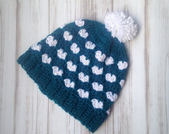 Heart Slouch Hat- Ready To ship, Size 3 years old to Womens Pagoda and White, Fall hat, Unique Handamade gift, Crochet Hat, Slouchy hat
