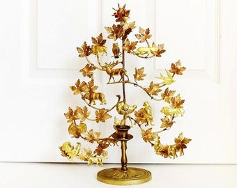 """Brass Dresden Tree of Life Candle Holder, 16 Animals, 16"""" Vintage Petites Choses ON SALE"""
