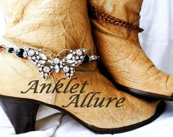 Butterfly Boot Chains Rhinestone Boot Jewelry Boot Bracelets Black Anklet Foot Jewelry